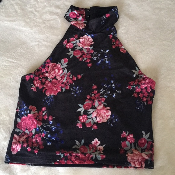 25cd02bfc97 Divided Tops | Hm Divider Floral Velvet Halter Crop Top | Poshmark